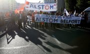 Alstom employees demonstrating at the end of September. (© picture-alliance/dpa)