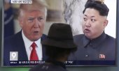 A splitscreen on South Korean TV showing Trump and Kim. (© picture-alliance/dpa)