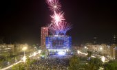 Fireworks in Tel Aviv at the start of the celebrations. (© picture-alliance/dpa)