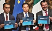 Di Maio, Conte and Salvini (from left to right) present their reforms. (© picture-alliance/dpa)
