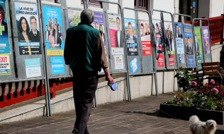 A pedestrian peruses EU election posters in Hendaye in southern France. (© picture-alliance/dpa)