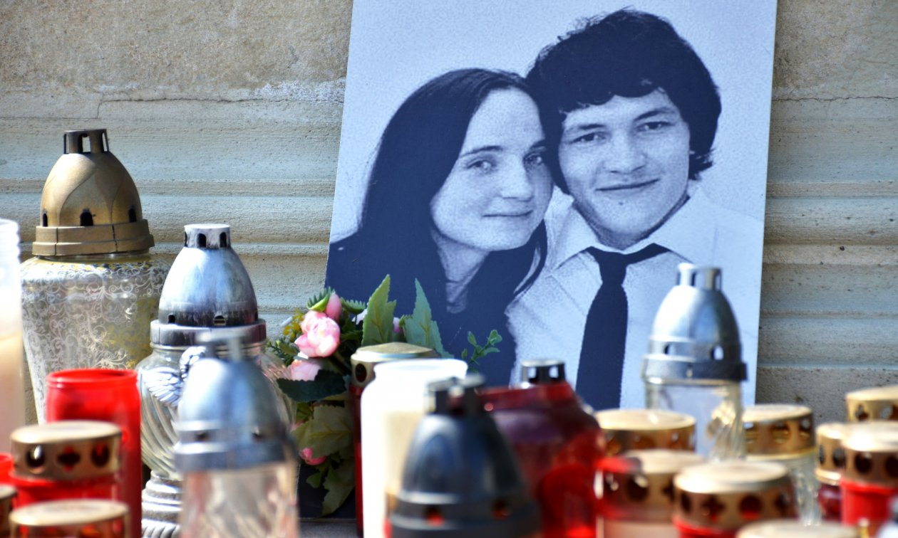 A photograph of the murdered journalist Jan Kuciak and his fiancée Martina Kusnirova, who was also murdered.
