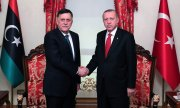 Turkish President Tayyip Erdoğan and Libyan Prime Minister Fayez al-Sarraj. (© picture-alliance/dpa)