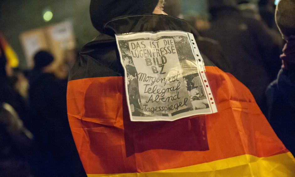 "The Pegida Movement called the German media ""Lying press"" (© picture-alliance/dpa)"