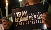 """Islam is a religion of peace, not of terror"" - reads a poster in Rabat during a demonstration in November 2015 after the Paris attacks. (© picture-alliance/dpa)"