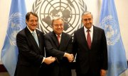 The President of the Republic of Cyprus, Nikos Anastasiades, UN Secretary General António Guterres and the leader of the Turkish Cypriots, Mustafa Akıncı (l to r). (© picture-alliance/dpa)