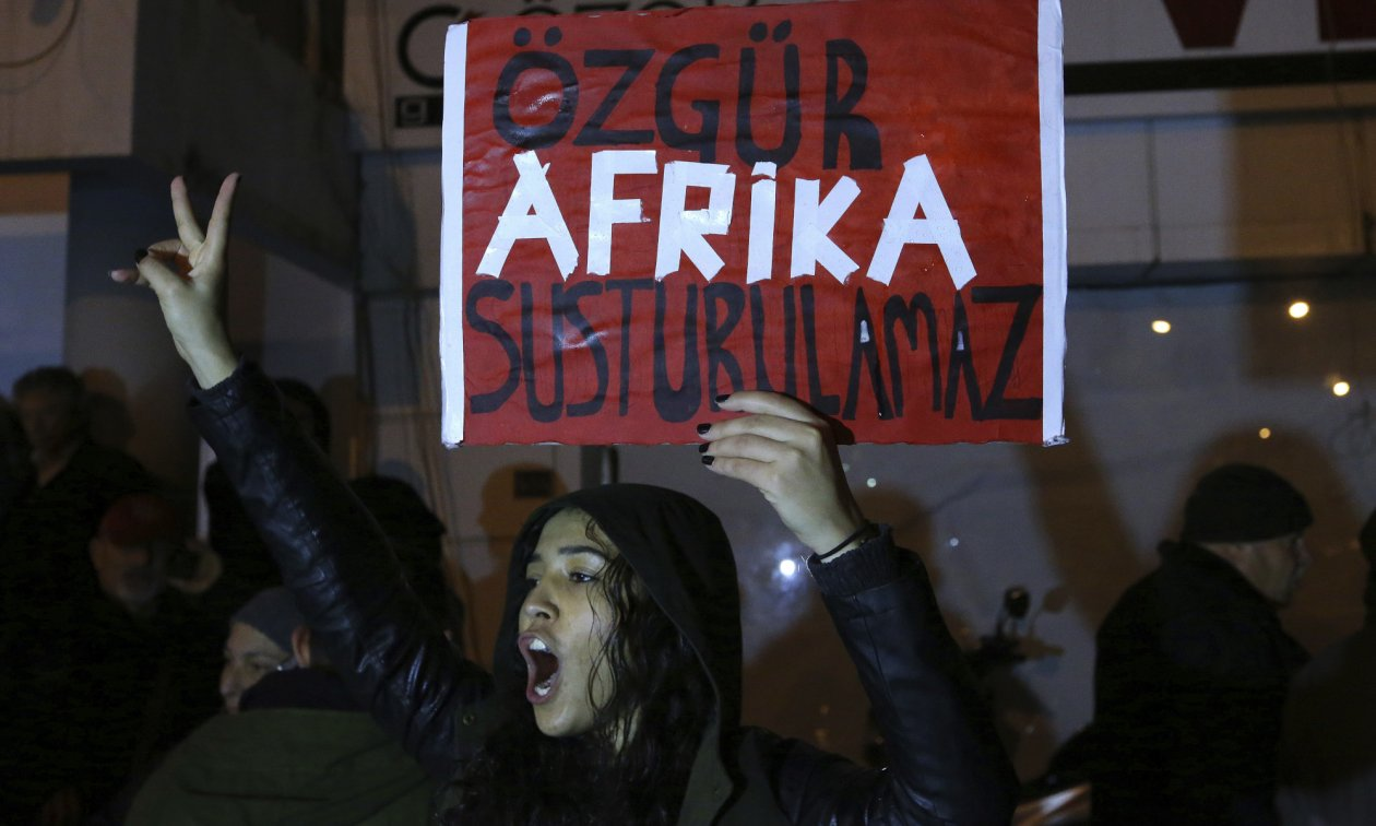 A woman demonstrating against the attacks by Turkish nationalists against the newspaper Afrika in northern Cyprus.