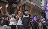 Des manifestants à Hong Kong, le 24 mai. (© picture-alliance/dpa)