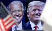 Biden and Trump on a TV screen. (© picture-alliance/dpa)