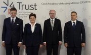 The heads of government of Slovakia, Poland, the Czech Republic and Hungary (from left to right). (© picture-alliance/dpa)