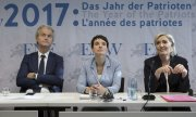 Representatives of far-right parties Geert Wilders, Frauke Petry and Marine Le Pen. (© picture-alliance/dpa)