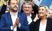 Lega leader Matteo Salvini, AfD spokesperson Jörg Meuthen and Marine Le Pen, leader of the Rassemblement National. (© picture-alliance/dpa)