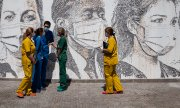 Inauguration of an artwork on the wall of São João Hospital in Porto on 19 Juni 2020. (© picture-alliance/dpa)