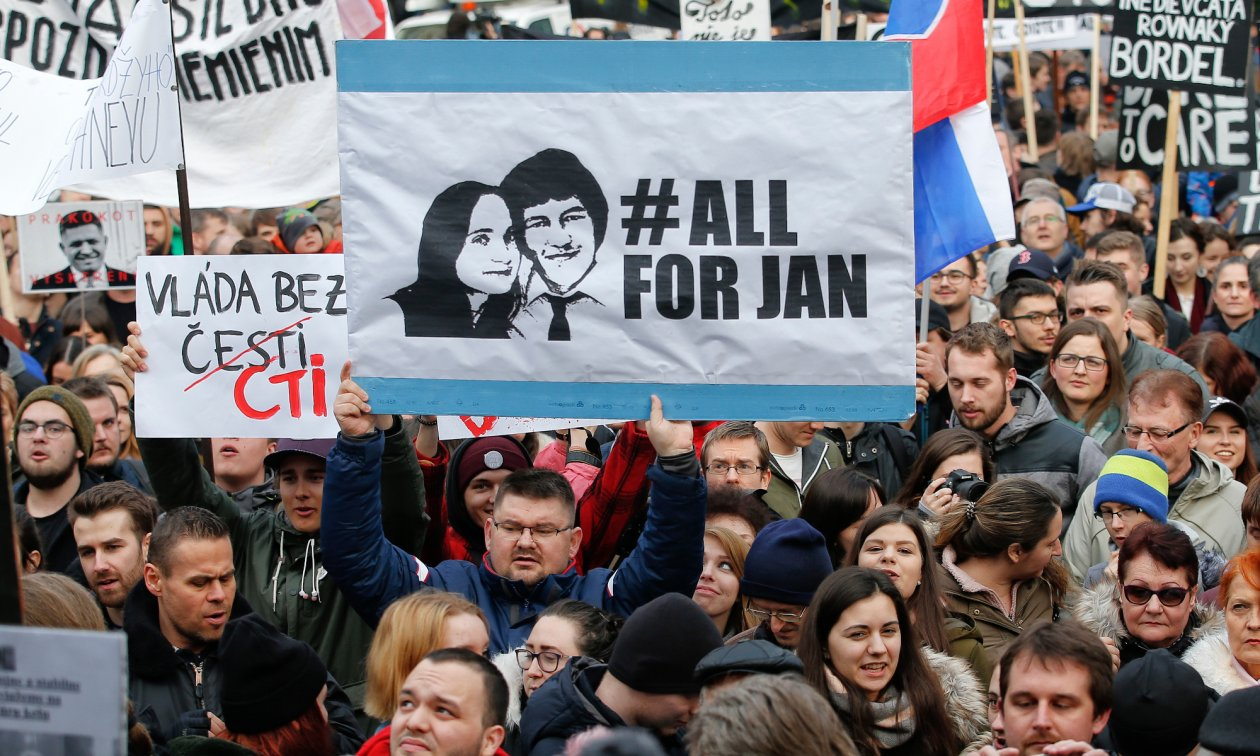 Protests in March 2018 against Prime Minister Robert Fico, triggered by the murder of investigative journalist Ján Kuciak and his fiancée Martina Kušnírová.
