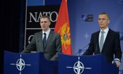 "Montenegro's Foreign Minister Igor Lukšić (left, with Nato chief Stoltenberg) talks of a ""great day"" for his country. (© picture-alliance/dpa)"
