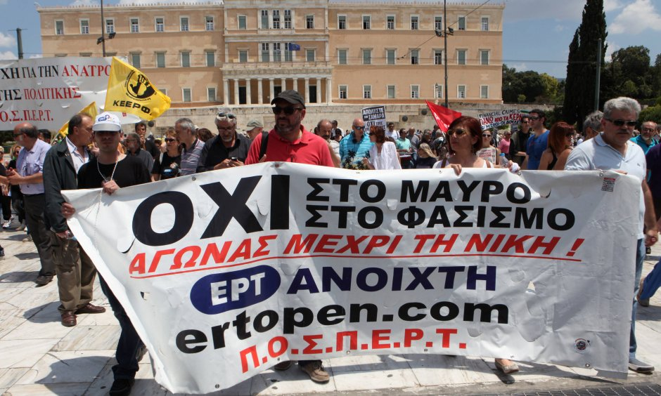 Protests against ERT's closure (© picture-alliance/dpa)