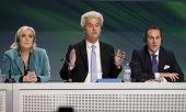 Marine Le Pen, Geert Wilders and Heinz Christian Strache at a conference of European nationalists in January in Milan. (© picture-alliance/dpa)