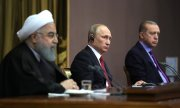 Rohani, Putin and Erdoğan at the Syria meeting in Sochi. (© picture-alliance/dpa)