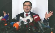 Mikheil Saakashvili at a press conference in Warsaw on Tuesday. (© picture-alliance/dpa)