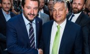 Viktor Orbán and Matteo Salvini at their meeting in Milan. (© picture-alliance/dpa)