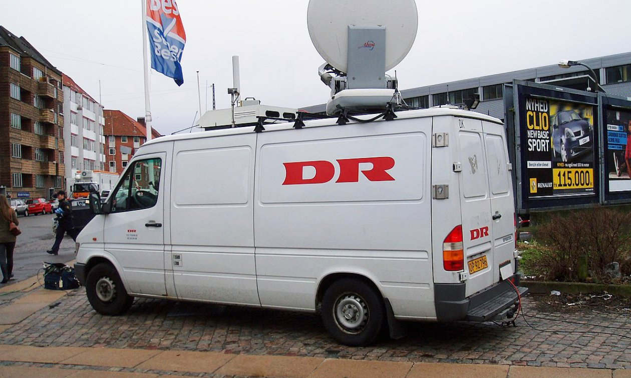 A mobile unit of the public broadcaster Danmarks Radio (DR).
