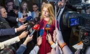 Zuzana Čaputová on the evening of the election before the results were announced. (© picture-alliance/dpa)