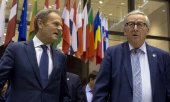 EU Council President Donald Tusk and Commission President Jean-Claude Juncker at the EU summit on 21 March 2019. (© picture-alliance/dpa)