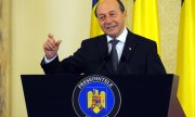 Traian Băsescu during his last press conference as Romanian president. (© picture-alliance/dpa)