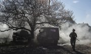 A Ukrainian soldier near Mariinka in the Donetsk region. (© picture-alliance/dpa)