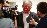 Klubrádió's director András Arató after the court ruling on February 9 in Budapest. (© picture-alliance/Laszlo Balogh)