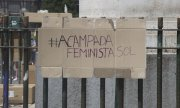 "A poster hung in Madrid in June by ""Feminist Camp"" activist group calling for tougher sentences for sexual offenders. (© picture-alliance/dpa)"