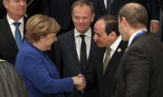 German chancellor Angela Merkel, EU Commission President Donald Tusk and Egyptian President Abdel Fattah el-Sisi. (© picture-alliance/dpa)