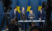 Press conference given by the Swedish government on 25 March 2020. (© picture-alliance/dpa)