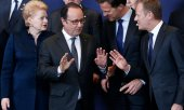 Lithuanian President Dalia Grybauskaitė, French President François Hollande, Dutch Prime Minister Mark Rutte and EU Council President Donald Tusk (© picture-alliance/dpa)