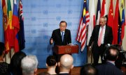 UN Secretary General Ban Ki-moon discusses North Korea's nuclear tests with journalists in New York. (© picture-alliance/dpa)