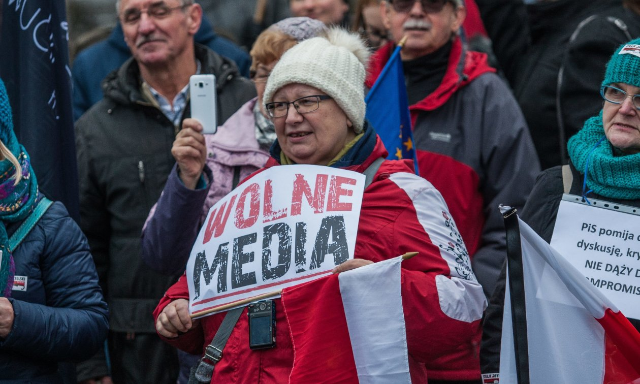 Demonstrations for media freedom in Gdansk in December 2016. (© picture-alliance/dpa)