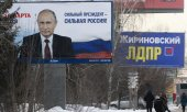 Wahlplakate in Nowosibirsk. (© picture-alliance/dpa)