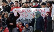 Manifestation de migrants à Mytilène, le 4 février 2020. (© picture-alliance/dpa)