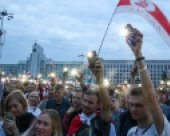 Protesters on Independence Square in Minsk on 20 August. (© picture-alliance/dpa)