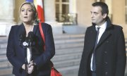 FN leader Marine Le Pen and then vice president Florian Philippot in May 2017. (© picture-alliance/dpa)