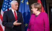 Mike Pence and Angela Merkel. (© picture-alliance/dpa)
