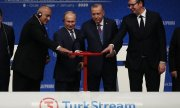 The opening ceremony for Turkstream on 8 January 2020. (© picture-alliance/dpa)