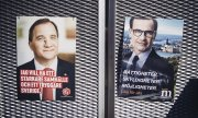 Election posters showing the lead candidates of the Social Democrats Stefan Löfven (left) and of the Moderate Party Ulf Kristersson. (© picture-alliance/dpa)