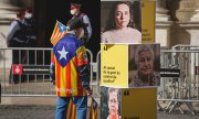 A supporter of the separatist ERC in Barcelona on February 3. (© picture-alliance/Pau de la Calle)