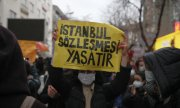 """The Istanbul Convention saves lives"" reads a banner at a protest march in Ankara on 20 March. (© picture-alliance/Burhan Özbilici)"