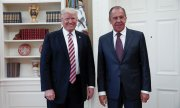 Sergey Lavrov with Donald Trump in the White House on May 10. (© picture-alliance/dpa)
