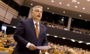 Hungary's Prime Minister Viktor Orbán in the EU Parliament last April. (© picture-alliance/dpa)