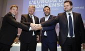 From left: Olli Kotro (The Finns), Jörg Meuthen (AfD), Matteo Salvini (Lega) and Anders Vistisen (the Danish People's Party). (© picture-alliance/dpa)