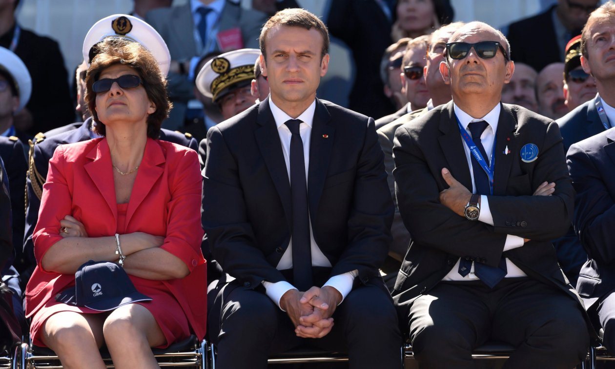 French President Emmanuel Macron and former minister of defence, Sylvie Goulard, alongside Eric Trappier, CEO of Dassault Aviation. Dassault is not only the world's sixth largest manufacturer of military aircraft, it also owns the daily newspaper Le Figaro.